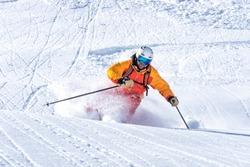 freeride skiing in deep powder snow