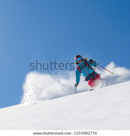 Freeride skiing with perfect conditions #1255082776