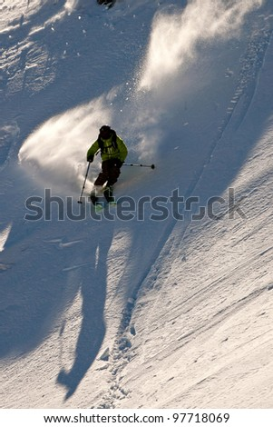Freerider skiing in Caucasus mountains