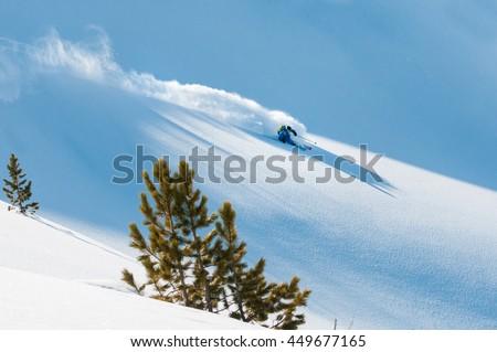 Freerider skiing off piste in deep fresh snow in Zillertal, Austria. Foto stock ©