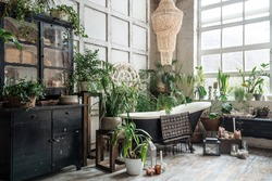 Freestanding classic bath with hanging towel in light cozy boho chic bathroom with lots of greenery and antique furniture, black vintage cabinet with potted plants and candles on wooden floor