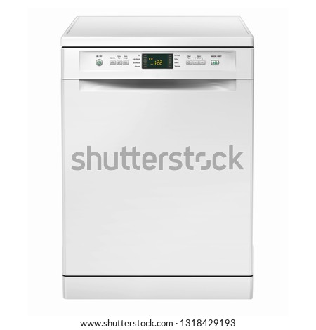 Freestanding Dishwasher Machine Isolated on White Background. Front View of Modern Dishwasher Range in White. Domestic and Kitchen Appliances. Household Electrical Equipment #1318429193