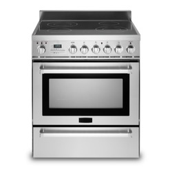 Freestanding Electric Range Isolated on White Background. Front View Steel Fingerprint Resistant Free Standing Kitchen Stove with Convection and Warming Drawer. Range Cooker with 5 Five Burner Cooktop