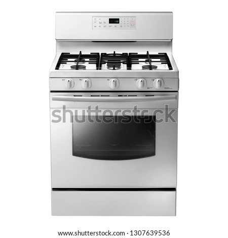 Freestanding Gas Range Isolated on White Background. Front View of Steel Fingerprint Resistant Free Standing Kitchen Stove with Convection and Warming Drawer. Range Cooker with 5 Five Burner Cooktop