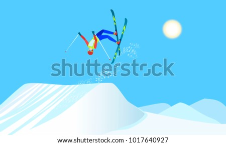 Freestyle skiing, winter sport that combines skiing and acrobatics. Skier over the springboard make ski somersault. Raster version.