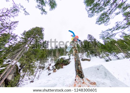 Freestyle snowboarder makes flatland standing on a log in a forest in winter mountains #1248300601