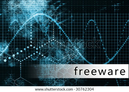 Freeware in a Blue Data Background Illustration - stock photo