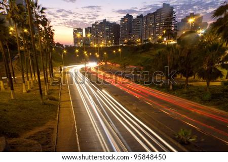 freeway at sunset, in lima,  peru