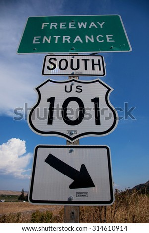 Freeway Entrance sign to US Route 101 South, Pacific Coast Highway