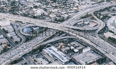 Freeway junction aerial view in Los angeles, california stock photo