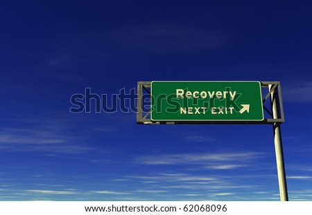 Freeway sign, next exit... Recovery! - stock photo