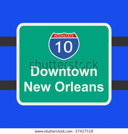 freeway to downtown New Orleans sign illustration JPEG