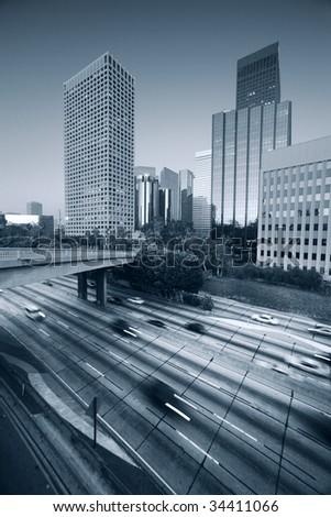 Freeway traffic in downtown Los Angeles
