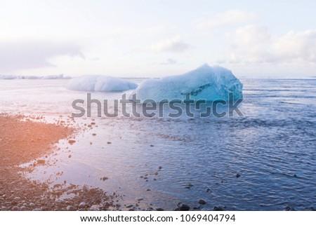 Stock Photo Freeze ice on sea coast skyline, Iceland winter season natural landscape