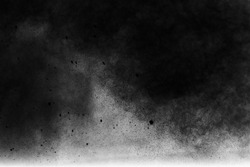 Freeze motion explosion of white dust on a black background. abstract powder splatted