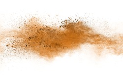 Freeze motion of brown color powder exploding on white background.