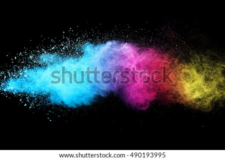 Freeze motion of color powder exploding on black background. - Shutterstock ID 490193995