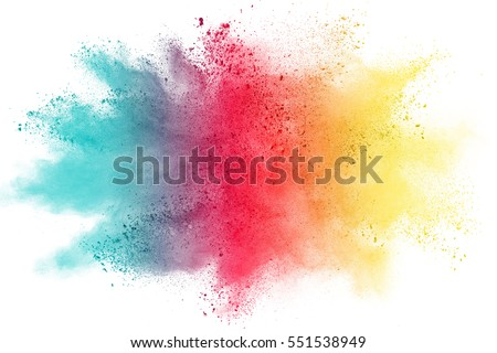 Freeze motion of color powder exploding on white background. #551538949