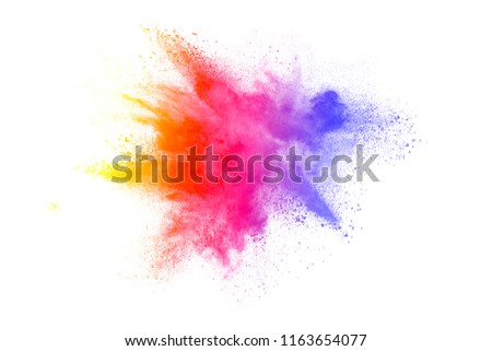 Freeze motion of colored powder explosions isolated on white background #1163654077