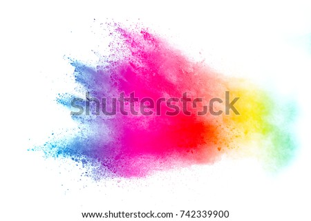 Freeze motion of colored powder explosions isolated on white background - Shutterstock ID 742339900