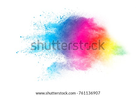 Freeze motion of colored powder explosions isolated on white background - Shutterstock ID 761136907