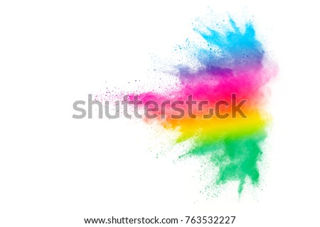 Freeze motion of colored powder explosions isolated on white background #763532227
