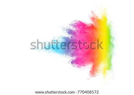 Freeze motion of colored powder explosions isolated on white background - Shutterstock ID 770408572