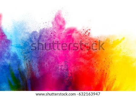 Freeze motion of colorful  painted powder exploding  on white background. Abstract design of color dust cloud. Particles explosion. Splash of colorful painted powder on white background. #632163947