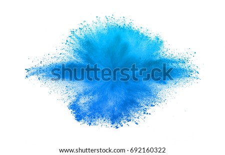 Freeze motion of sky blue dust explosion isolated on white background #692160322