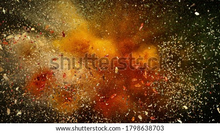 Freeze motion of various spice explosion, abstract culinary background ストックフォト ©