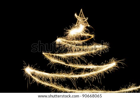 Freezelight Sparklers Christmas tree on black background