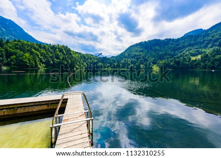 Freibergsee at Oberstdorf, Mountain landscape of Bavaria, Allgaeu and Alps in Southern of Germany, Europe #1132310255