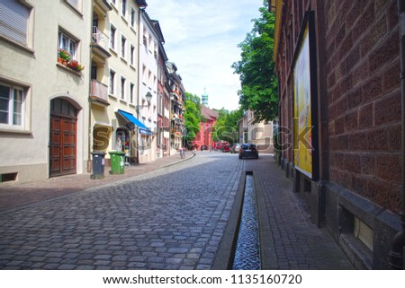 Freiburg, Germany - 08 July 2018 - A view from the city streets of Freiburg. #1135160720