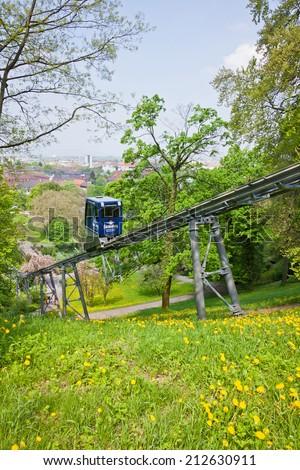 FREIBURG, GERMANY - MAY 5, 2013: The Schlossbergbahn (English: Castle Hill Railway) is a funicular railway in Freiburg im Breisgau city, Germany. It links the city centre with the Schlossberg hill