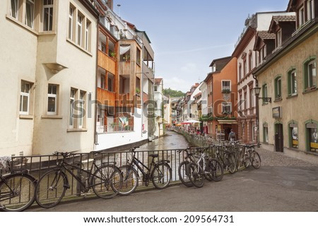 FREIBURG IM BREISGAU GERMANY AUGUST 6 2014 Area Little Venice in Freiburg a city in the south-western part of Germany in the Baden-Wurttemberg state