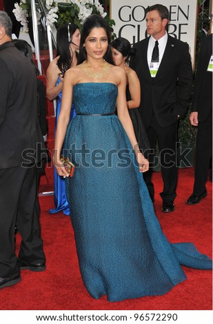 Freida Pinto at the 69th Golden Globe Awards at the Beverly Hilton Hotel. January 15, 2012  Beverly Hills, CA Picture: Paul Smith / Featureflash