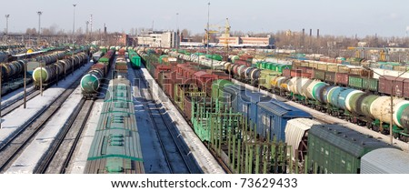 Freight cars in cargo port in the early spring