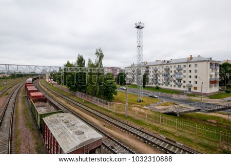 Freight cars on railway station, Shabany neighborhood, Minsk, Belarus. #1032310888