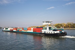 Freight ship on Rhine River, Germany