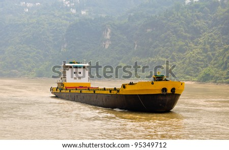 freight ship on the yangtze in china