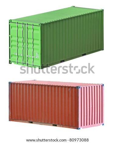 Freight shipping containers isolated on white background, set