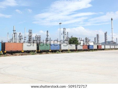Freight Train Backdrop oil refinery #509572717