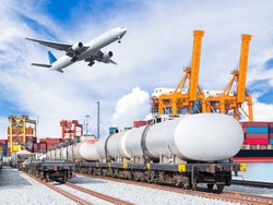 Freight train for oil and fuel transport and cargo plane and container cargo freight ship with working crane loading bridge in shipyard for logistic import export background