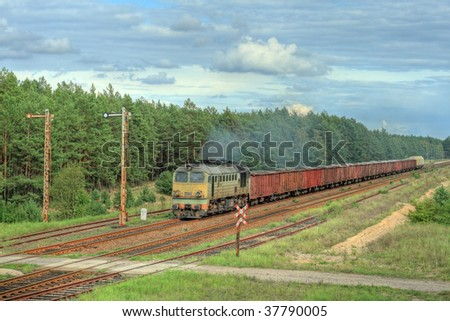 Freight train hauled by the diesel locomotive is passing the forest