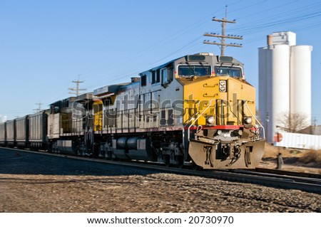 Freight train hauling coal to points south