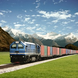 Freight Train in a Mountain Landscape