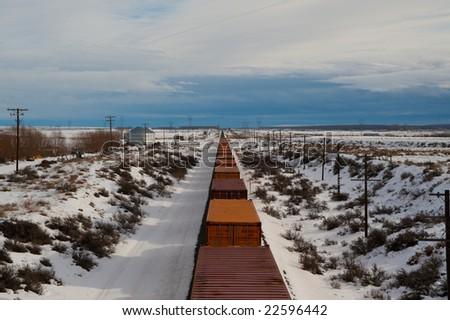 Freight train in a snowy winter landscape