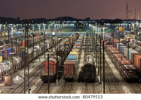 Freight train station at night in Maschen near Hamburg, it is the biggest marshalling yard in Europe.