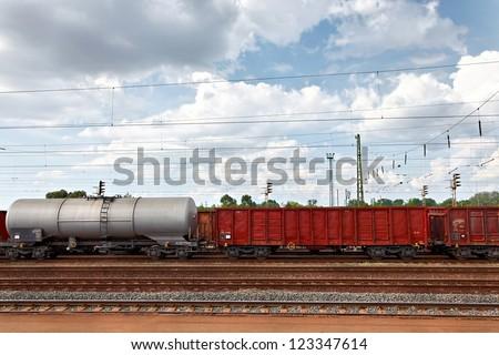 Freight train wagons at a railwy hub