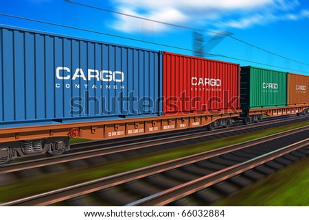 Freight train with cargo containers - stock photo